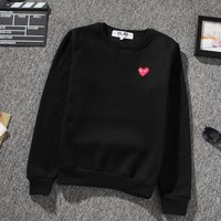 PLAY Tide brand love embroidery couple models long-sleeved round neck pullover sweater Black