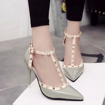 Women Pump Rivet Buckle High Heel Sandal Spring Summer Hollow Out Pointed Toe Sexy Casual Shoes Euro
