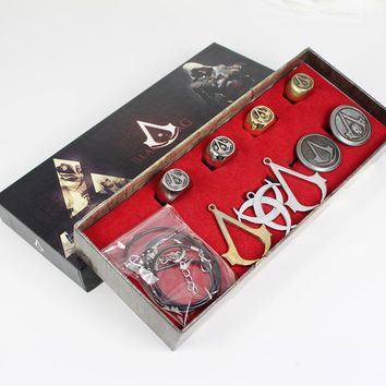 New Assassins creed, Ghost ring Necklace Set Black Flag Rings+Necklace Collection Boxed figures Assassins Creed Toys