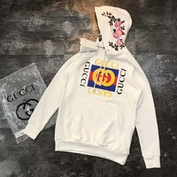 GUCCI : flower rose print sweater long sleeve hoodie pullover White G-A-HRWM