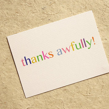 Thank you card, thanks awfully, this cute pastel design tells them just how grateful you are, blank inside for your own personal message