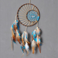 Feathers Pendant Double Circles Beaded Dreamcatcher, Home & Living Decoration Wind Chimes Creative Gifts