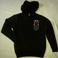 PUG hoodie pug sweatshirt dog hoodie pocket pug in a pocket black gray MEN'S WOMEN'S