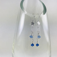 Shooting star dangle earrings, blue earrings, star earrings, simple jewelry