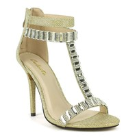 Celeste Wendy-05 T-strap Dress Sandal in Gold @ ippolitan.com