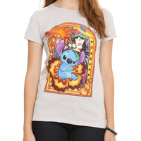 Disney Lilo & Stitch Stained Glass Palm Tree Girls T-Shirt