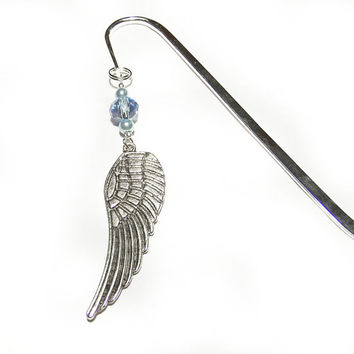Angel Wing Bookmark, Angel Beaded Bookmark, Guardian Angel Metal Bookmark, Book lover gift idea
