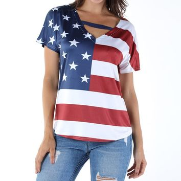 Flag Stripe Shirt V-Neck Adult
