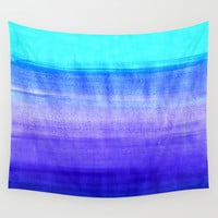 Ocean Horizon - cobalt blue, purple & mint watercolor abstract Wall Tapestry by Tangerine-Tane