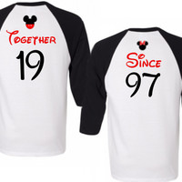 Two Black Disney Baseball Tees - Together Since Cute Matching Couple Shirts