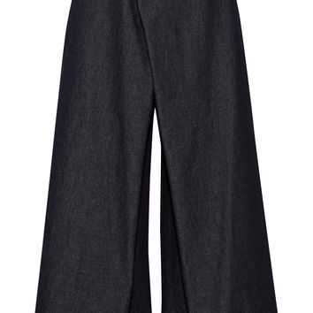 1205 - Institution wrap-front denim culottes