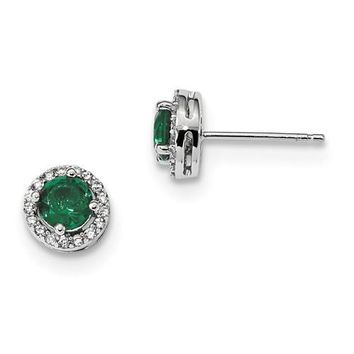 Sterling Silver White & Green CZ Brilliant Embers Halo Earrings