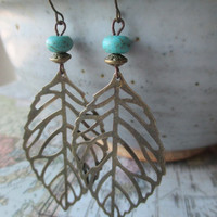 Blue Turquoise Earrings Brass Leaf Earrings Boho Bohemian Earrings  Dangle Drop Earrings Filigree Earrings Jewelry