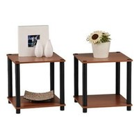 Momentum Furnishings PBF-0293-303 2-Piece Cherry Finish With Black Accents End Table Set