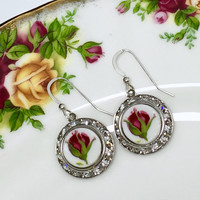 Red Earrings, Broken China Earrings Jewelry, Royal Albert China, Old Country Roses, Swarovski, Rose Dangle Earrings, Valentines Day Wife