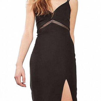 Black Spaghetti Strap V-Neck Mesh Paneled Bodycon Dress