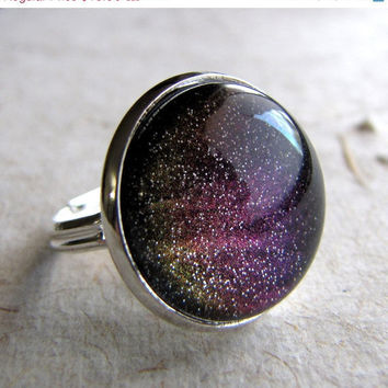 Technicolor Northern Lights Ring in Silver  by AshleySpatula