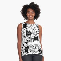 """Itty Bitty Kitty Committee"" Contrast Tank by noondaydesign 