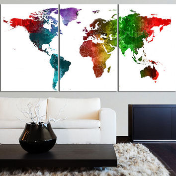 Canvas print watercolor world map canvas from edecorshop on etsy canvas print watercolor world map canvas contemporary 3 panel triptych watercolor pi gumiabroncs Choice Image