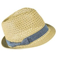 Mossimo Supply Co. Fedora Hat with Denim Bow Sash - Light Brown