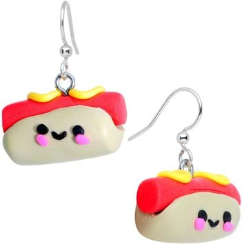 Handcrafted Smiling Hotdog Silver Plated Fishhook Earrings