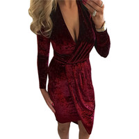 Warm Velvet Dress Women Winter Long Sleeve Plunging V-Neck Bandage Irregular Dress High Quality Velvet Bodycon Vestidos GV476