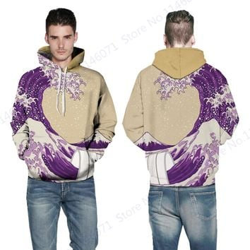 The Great Wave Off Kanagawa Hip Hop Hoodie Purple Winter Mens Skateboarding Sweatshirt Autumn Oversized Sport Suits Hoody Coats
