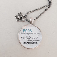 PCOS, Cyster, Personalized, Glass Pendant Necklace