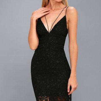 Alejandra Black Lace Bodycon Midi Dress
