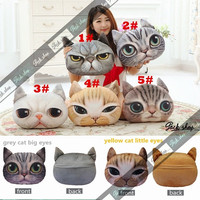 Stuffed Plush 3D Cute Cat Dog Face Throw Pillow Home Decor Sofa Cushion Toy Doll = 1929548036