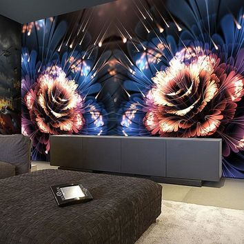 Custom Photo Wall Paper Modern 3D Stereo Fluorescent Flowers Murals KTV Bar Clubs Entertainment Place Creative Decor Wallpapers