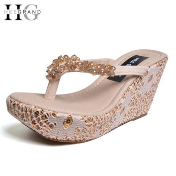 Women's Slippers 2017 NEW Summer Shoes Woman Flip Flips Beading High Heels Shoes Platform Wedges Slides 35-39 XWZ3524