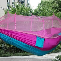 2016 Newest Fashion Handy Hammock Single Person Portable Parachute Fabric Mosquito Net Hammock for Indoor Outdoor Camping Using