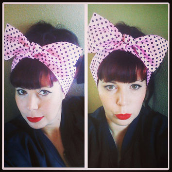 Pink with Black Polka Dots Headwrap Bandana Hair Big Bow Tie 1940s 1950s Vintage Style