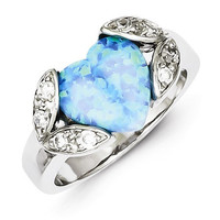 Sterling Silver Blue Created Opal Heart & CZ Ring