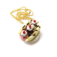 Banana Split Necklace, Miniature Food Jewelry, Polymer Clay Food Charm, Neapolitan Ice Cream Sundae Jewelry