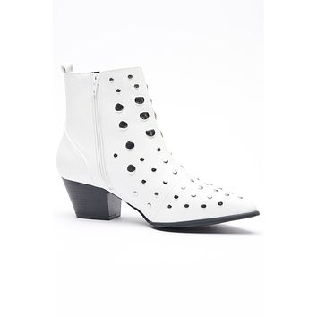 Vicky Studded Booties (White)