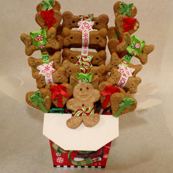 Christmas Dog biscuit treat basket, unique gift, custom, personalized, holiday