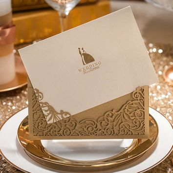 12pcs/lot Luxury Golden Laser Cut Wedding Invitations Elegant Weeding Invitation Cards Decorations convites de casamento JJ530
