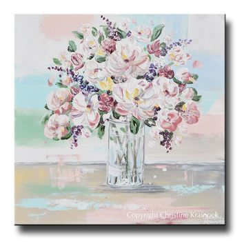 """ORIGINAL Art Abstract Floral Painting Textured White Pink Flowers Bouquet Wall Decor 24x24"""""""