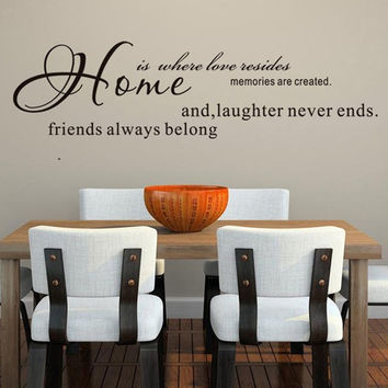 HOME IS WHERE LOVE RESIDES ! Removable Wall Stickers Decal Vinyl Art Home Decor = 1705950148