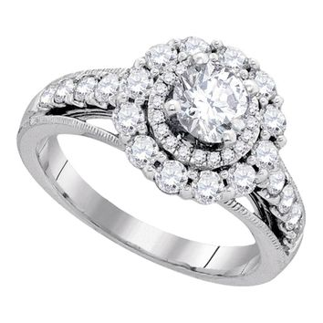 14kt White Gold Womens Round Diamond Solitaire Bridal Wedding Engagement Ring 1-3/4 Cttw