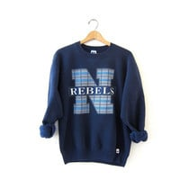 Vintage coed sweatshirt. Rebels Sweatshirt. Plaid Sweatshirt.