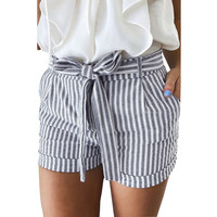 Striped Blue and White England Style Ribbons Short With Bow Mid Waist Drawstring Summer Women Cute Shorts