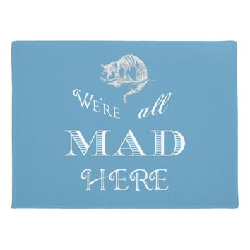 Cheshire Cat Mad Alice Blue Doormat