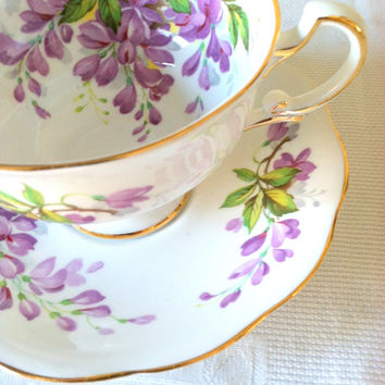 Vintage Royal Standard Wistaria Pattern Fine Bone China Tea Cup and Saucer / Cottage Style / Tea Party
