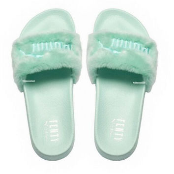 """PUMA"" Rihanna Fenty Leadcat Fur Slipper Shoes Mint green"