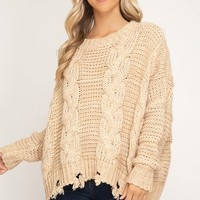 Long Sleeve Cable Knit Pullover Sweater with Distressed Hemline - Taupe