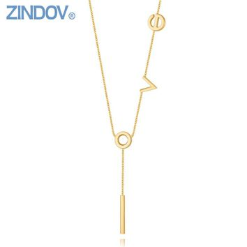 ZINDOV Stainless Steel Long Pendants Necklaces For Women Rose Gold Silver I Love You Gift Fashion Jewelry Women Necklace Golden