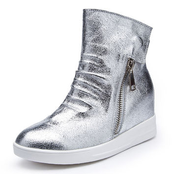 White Sliver  Leather Boots